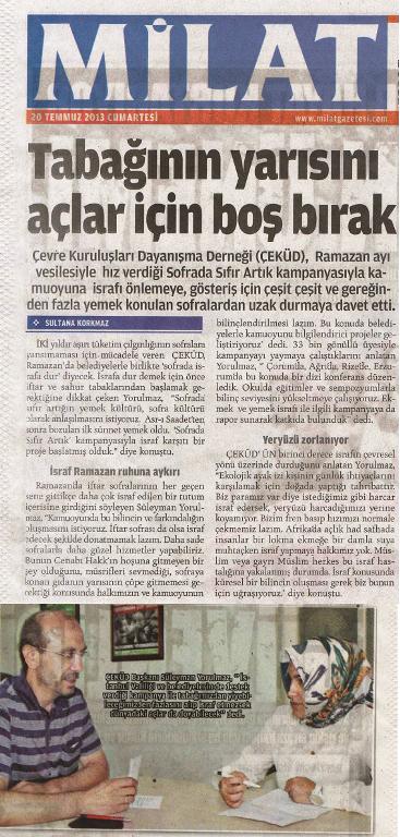 20.07. 2013 Yeni Milat Gazetesi Sofrada Sıfır Artık Röportajı